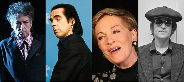 Bob Dylan, Nick Cave, Julie Andrews e John Lennon (Foto: Getty Images)