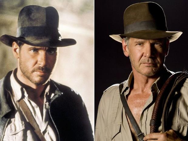 Harrison Ford em dois momentos da saga 'Indiana Jones': à esquerda, em 'Os caçadores da arca perdida' (1981); à direita, em 'Indiana Jones e o reino da caveira de cristal' (2008) (Foto: Divulgação)