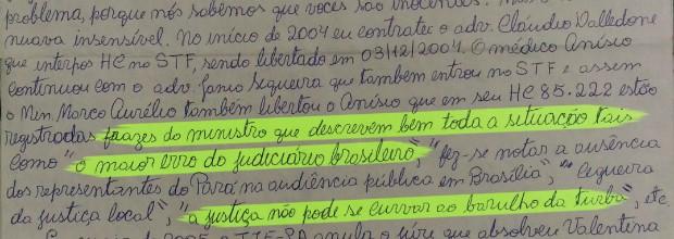 Carta escrita por Césio (Foto: Gazeta Online)