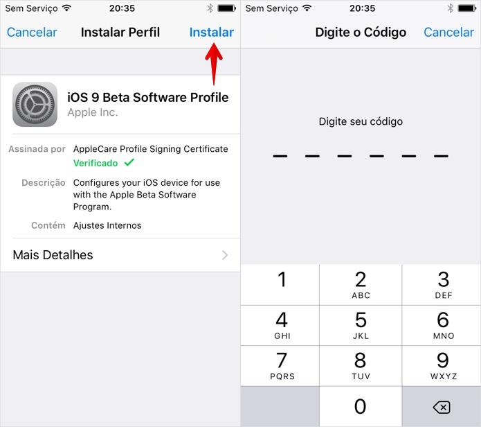 Instale o perfil de configuração disponibilizado (Foto: Reprodução/Helito Bijora)