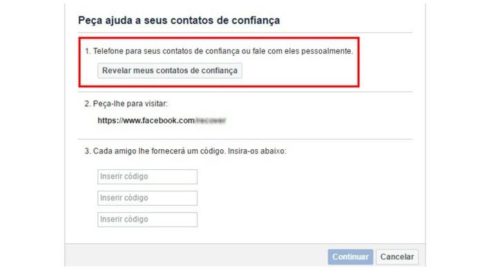 Revele seus contatos de confiança (Foto: Reprodução/Camila Peres)