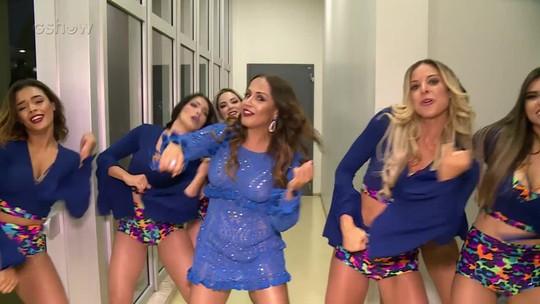 Carla Cristina relembra coreografia de 'Xibom Bombom' com as bailarinas do 'Domingão'