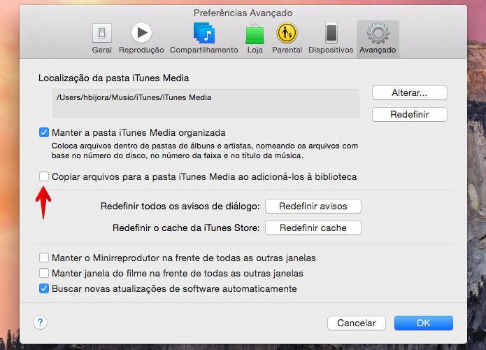 Desativando cópia de arquivos para a pasta do iTunes (Foto: Reprodução/Helito Bijora)