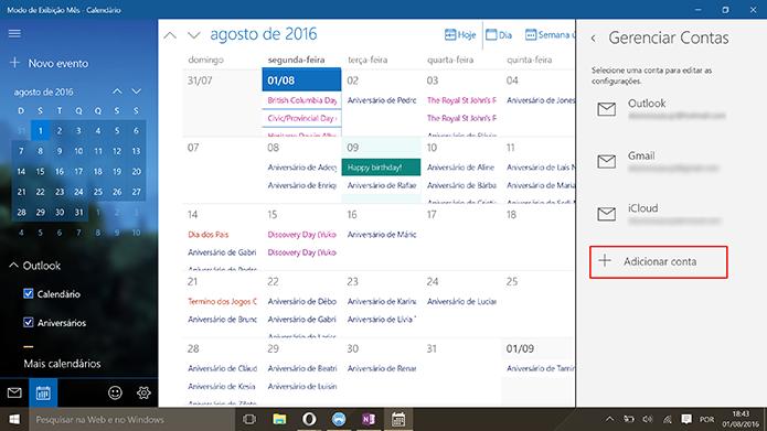 Toque em adicionar conta para usar o Google Agenda no Windows 10 (Foto: Reprodução/Elson de Souza)