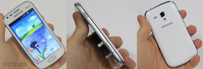 Galaxy S Duos tem design do S3 e encaixe confortável nas mãos (Foto: Elson de Souza/TechTudo)