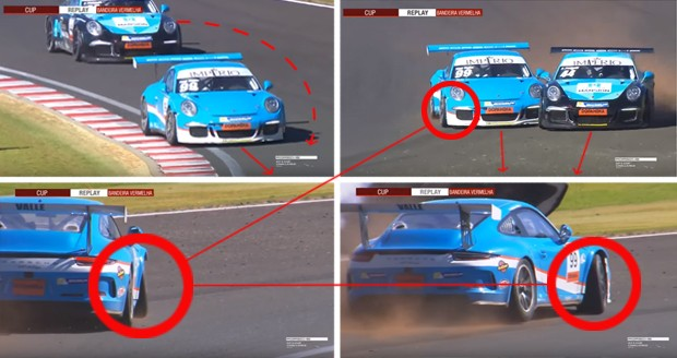 Cenas da colisão de corrida entre Tom Valle #99 e Paulo Pomelli #44 (Foto: Divulgação/Luca Bassani/Porsche Império GT3)