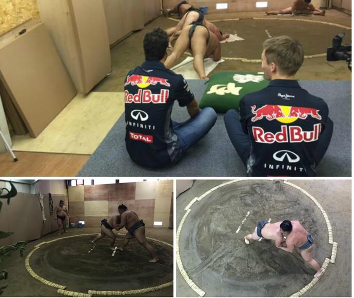 Daniel Ricciardo e Daniil Kvyat acompanham luta de sumô no Japão (Foto: Reprodução / Twitter)
