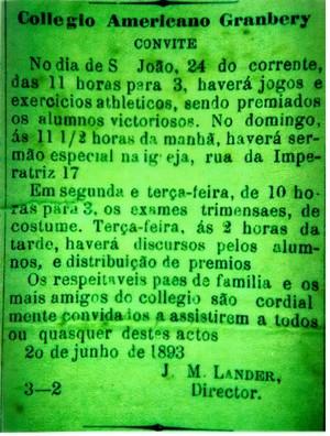 Convite Granbery Jornal O Pharol Juiz de Fora 1893 (Foto: Heglison Toledo/Arquivo Pessoal)