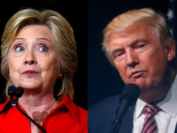 Hillary Clinton em Johnstown, Pensilvânia, no dia 30 de julho, e Donald Trump em Ashburn, Virginia, em 2 de agosto (Foto: Reuters/Aaron P. Bernstein/Eric Thayer)