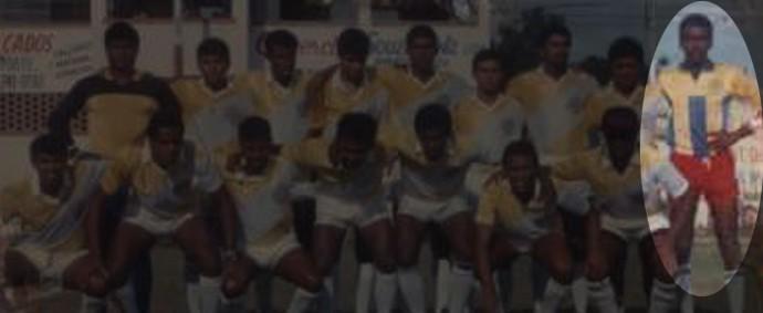 Imagem de arquivo mostra Buião, de short vermelho, na época que jogava futebol (Foto: Reprodução / Arquivo Pessoal)