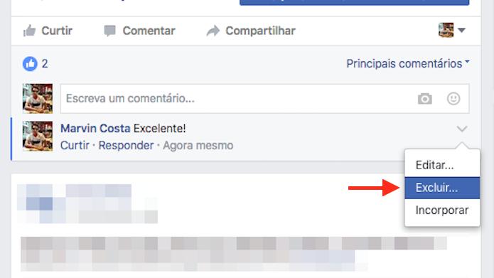 Opção para excluir um comentário de uma página do Facebook (Foto: Reprodução/Marvin Costa)