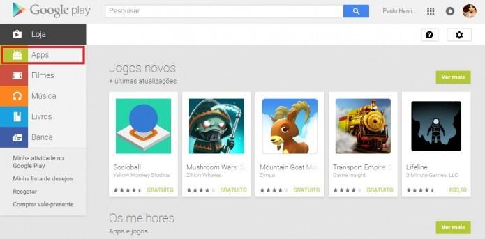 Acesse a Google Play a partir do seu navegador ou pelo aplicativo (Foto: Reprodução/Paulo Vasconcellos)