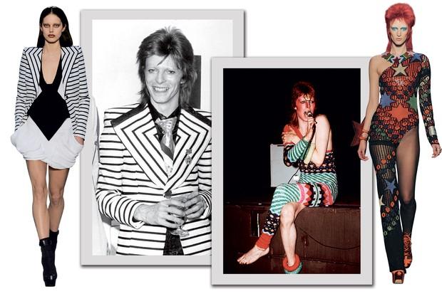 Na moda: O blazer que Bowie usava fora dos palcos ressurgiu na coleção do verão 2010 da e, à direita, look de Jean Paul Gaultier (verão 2013) inspirado em Ziggy (Foto: © Mick Rock, Getty Images, Divulgação e Reprodução)