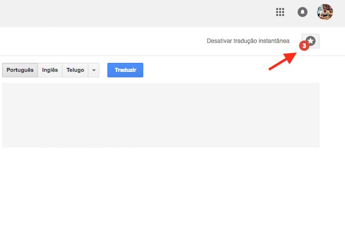 Acessando o histórico de traduções salvas do Google Tradutor (Foto: Reprodução/Marvin Costa)