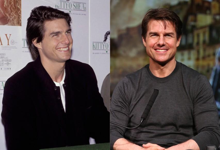 Cruise aparece, à esquerda, com 30 anos durante coletiva de imprensa para o filme 'Um Sonho Distante', em 1992. À direita, com 52 anos, na première japonesa de 'No Limite do Amanhã', em 2014. (Foto: Getty Images)