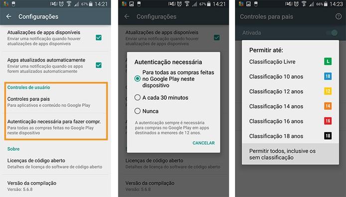 Aplicar modos de segurança do usuário no Google Play para senha e conteúdo impróprio (Foto: Reprodução/Barbara Mannara)