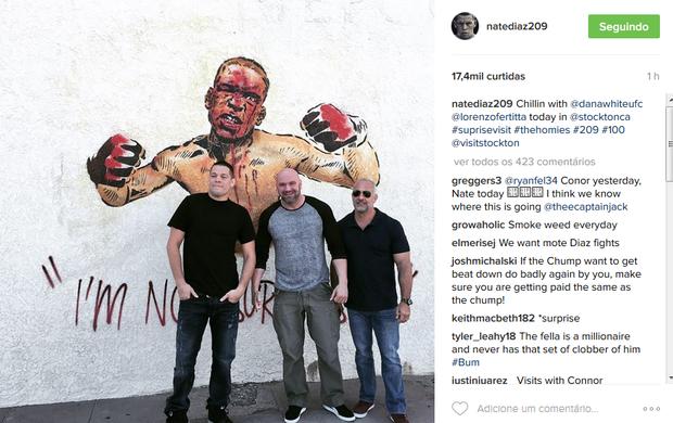 BLOG: Nate Diaz recebe visita de Dana White e Lorenzo Fertitta em sua cidade-natal