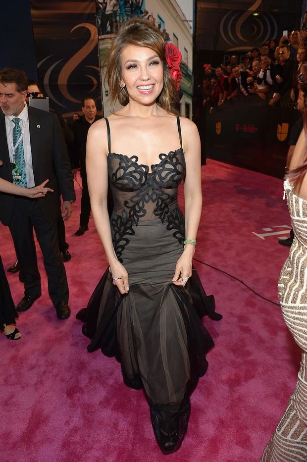 Thalia em premiação de música em Miami, nos Estados Unidos (Foto: Gustavo Caballero/ Getty Images/ AFP)