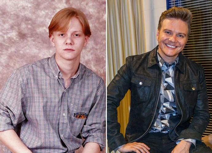 Michel Teló na adolescência e atualmente nos bastidores do The Voice Brasil: mudou muito? (Foto: Arquivo Pessoal/Artur Meninea/Gshow)