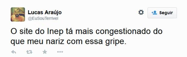 Candidatos usam Twitter para reclamar de site do Enem (Foto: Reprodução/Twitter/Lucas Araújo)