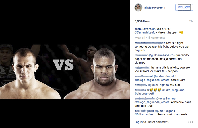 Alistair Overeem Junior Cigano instagram