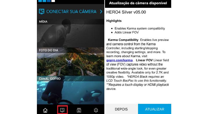 Como atualizar uma GoPro Hero 4 pelo aplicativo (Reprodução/Luana Marfim)