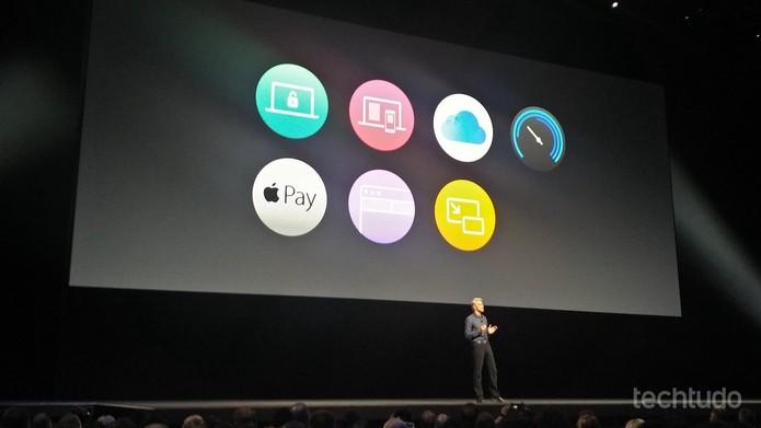 Craig Federighi, da Apple, apresenta novidades do antigo OS X, agora chamado de macOS Sierra (Foto: Fabrício Vitorino/TechTudo)