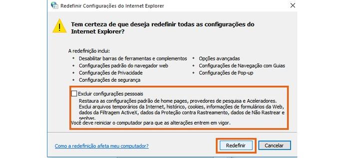 Confirme para redefinir o navegador Internet Explorer (Foto: Reprodução/Barbara Mannara)