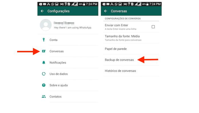 Acessando as opções para backup de conversas do WhatsApp para dispositivos Android (Foto: Reprodução/Marvin Costa)