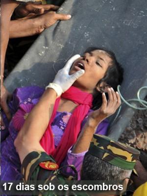 Mulher é achada viva 2 semanas após prédio ruir em Bangladesh (AP Photo)