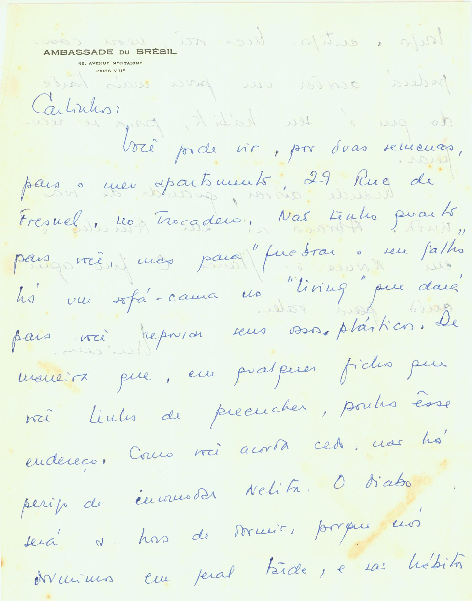 Vinícius de Moraes entra em contato com Carlos Scliar em 1963. (Foto: Divulgação / Instituto Carlos Scliar)