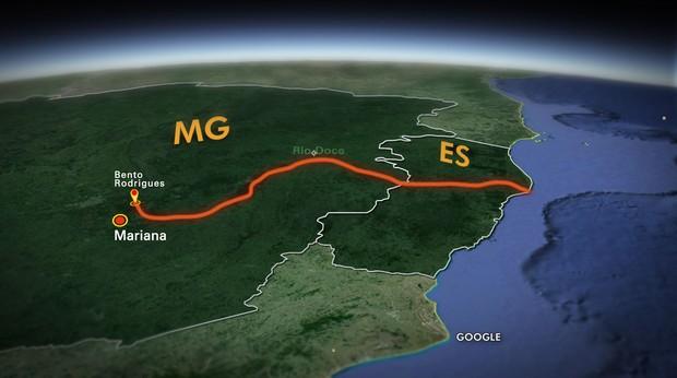 Mapa dos locais percorridos pelo JH depois da tragédia em Mariana (Foto: TV Globo)