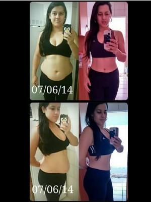 Dona de casa registrou o avanço; nas fotos tinha eliminado 12 quilos (Foto: Arquivo Pessoal/ Fabiana Proença)