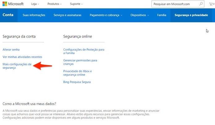 Opção aparece na seção Segurança da conta. (Foto: Reprodução/Alessandro Junior)