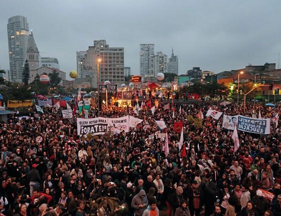 Manifestação no Largo da Batata,em São Paulo.O efeito da paralisação no congresso é incerto (Foto:  ALEX SILVA/ESTADÃO CONTEÚDO)
