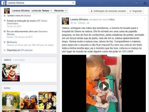 Em rede social, mulher conta como achou bebê abandonado em Brasília (Foto: Facebook/Reprodução)