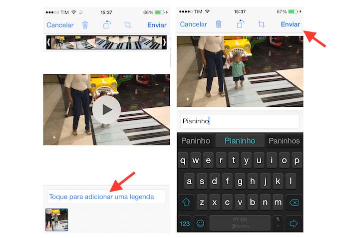 Enviando um vídeo da biblioteca do iPhone para um amigo do WhatsApp (Foto: Reprodução/Marvin Costa)