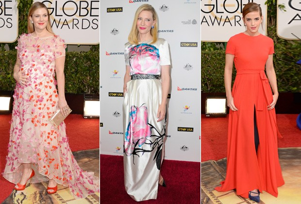 DREW BARRYMORE USA MONIQUE LHUILLIER, CATE BLANCHETT DE PRABAL GURUNG E EMMA WATSON COM LOOK DIOR COUTURE (Foto: Getty Images)
