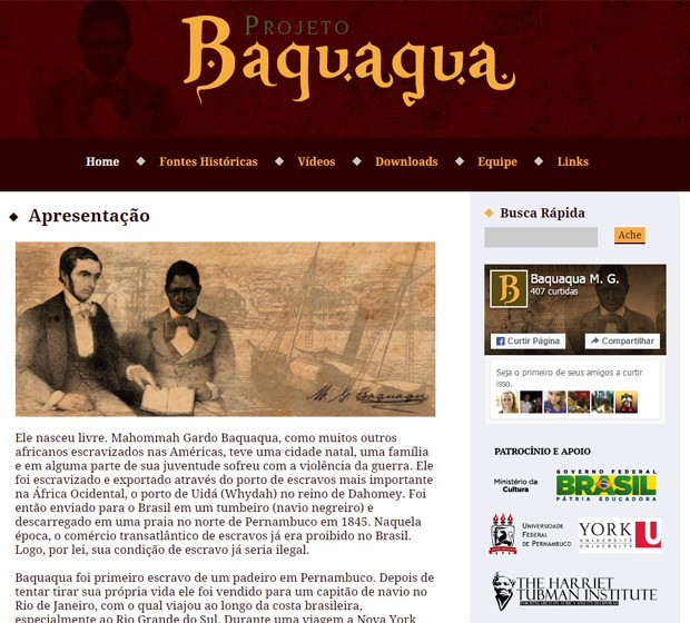 Projeto tenta resgatar memória da vida de Mahommah Baquaqua, que foi escravizado no Brasil no século XIX (Foto: Reprodução/Projeto Baquaqua)