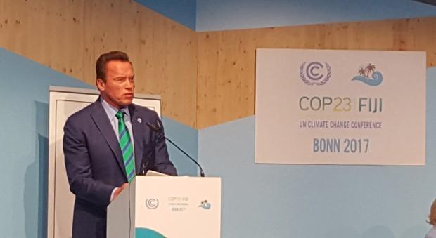 Arnold Schwarzenegger na Conferência Global do Clima (Foto: Yassen Tcholakov)