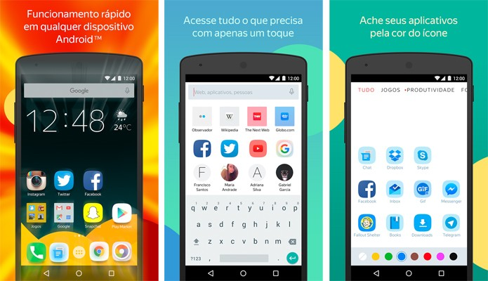 Yandex Launcher está totalmente em português (Reprodução/Google Play)