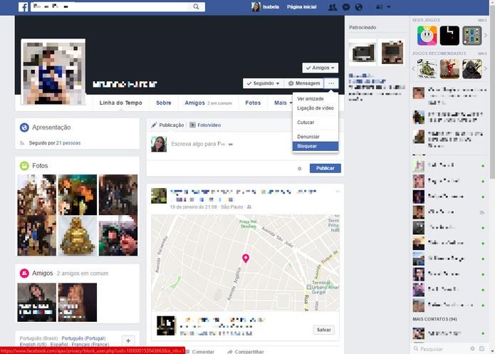 Vá até a opção bloquear no perfil do amigo (Foto: Reprodução/Isabela Giantomaso)