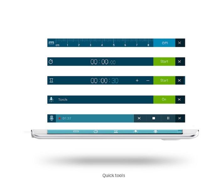 Note Edge traz gravador de voz, régua, cronômetro e outras funcionalidades na lateral (Foto: Divulgação/Samsung)