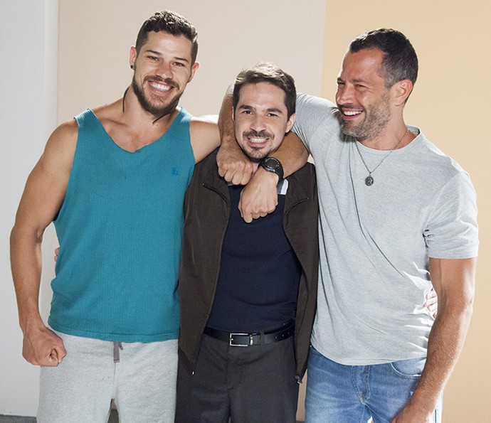 Malvino Salvador e José Loreto serão os irmãos Apolo e Adônis. Conrado Caputo cunhado dos fortões (Foto: Sérgio Zalis/Globo)