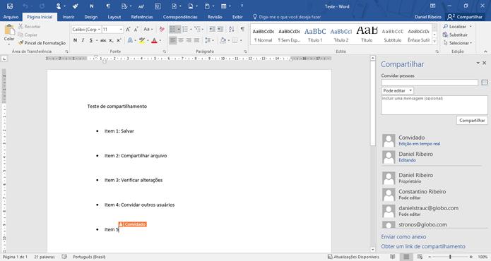A edição colaborativa do Microsoft Office 2016 indica as posições e alterações dos convidados (Foto: Daniel Ribeiro /TechTudo)