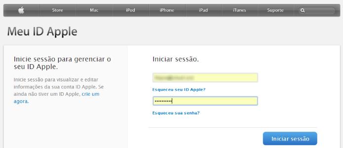 Acesse sua conta do iCloud (Foto: Reprodução/Helito Bijora)
