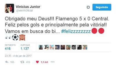 Vinícius Júnior vibrou muito no Twitter após a goleada e o show individual (Foto: Reprodução/Twitter)