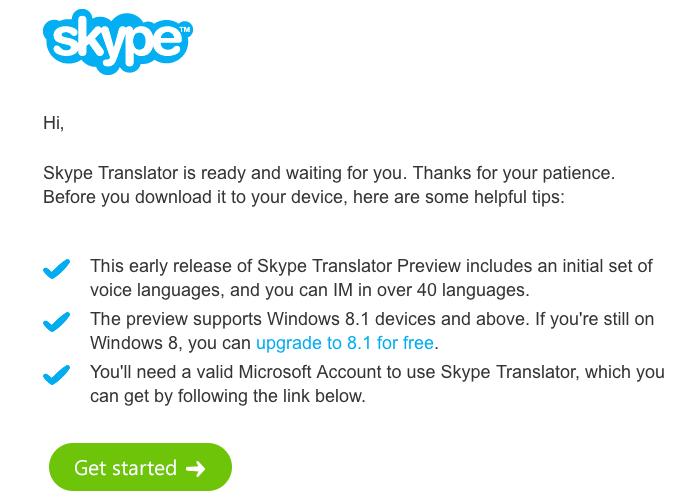 Ativando o convite para usar o Skype Translator (Foto: Reprodução/Helito Bijora)