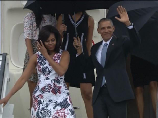 GNews - Barack Obama desembarca em Cuba (Foto: Reprodução/GloboNews)