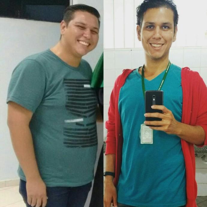 Antes e Depois de Armando Durante, que eliminou 43 kg com reeducação alimentar e exercícios físicos (Foto: Armando Durante/ arquivo pessoal)